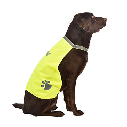Cooling Protective Dog Vest, A-SAFETY, Premium Dog Reflective Vest High-Visibility Safety Walking, Jogging, Training Yellow, 15.7inches