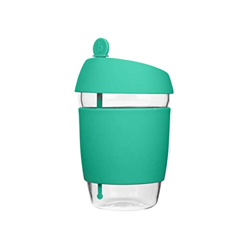Glass Travel Cup with Stopper - Brimley Reusable Coffee Mug with Thermal Insulated Sleeve and Leak Proof Lid (12oz - Teal)