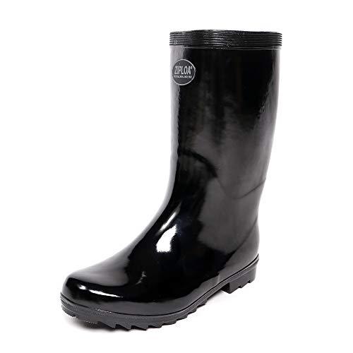 [コーコス信岡] 長靴 レインブーツ ZIPLOA 軽半長靴 メリヤス裏布 吸汗 メンズ ブラック 27 cm 3E