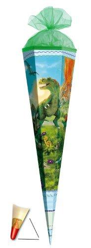Schultüte - T-Rex 85 cm 6 eckig - mit Holzspitze / Tüllabschluß - Zuckertüte Roth Dinosaurier Dino Dinos Saurier Rex