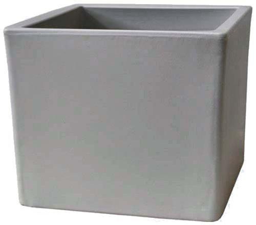 Chapelu CUBLM35CGB - Vaso da Fiori Cubico in polietilene 35 x 35 x 35 cm, Colore: Grigio