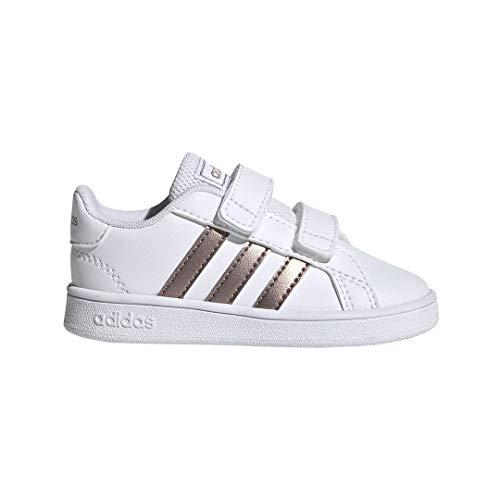adidas Kids' Grand Court K Sneaker, White/Copper Metallic/Glow Pink, 4K M US Toddler