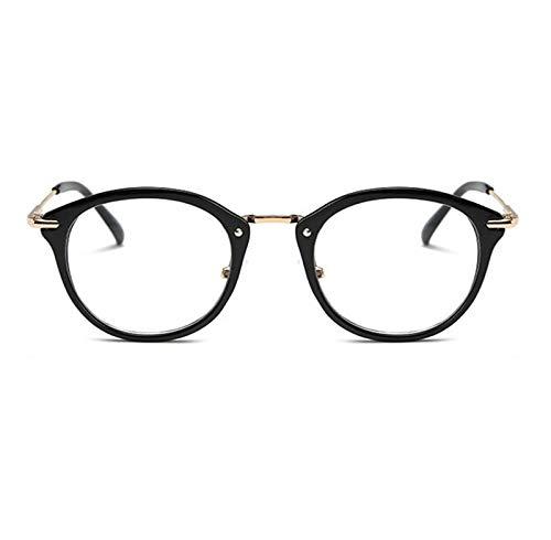 Without Marcos de Gafas Mujeres Anti Blue Glass Frame Men Frame Frame Vintage Redondo Claro Lente Claro Gafas Spectacle Optical Marco (Frame Color : Black)