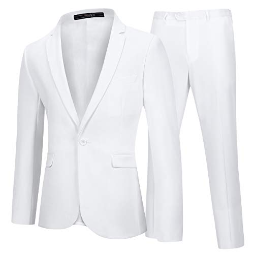 YFFUSHI Mens 2 Piece Suits One Button Formal Slim Fit Solid Color Wedding Tuxedo White
