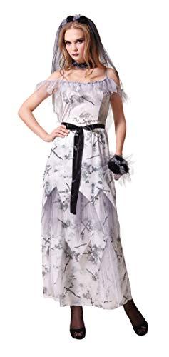 Emmas Wardrobe Traje de Novia Zombi cadáver para Adultos - Sé el cadáver de la Novia de Halloween - Reino Unido Tamaño 8 - 12