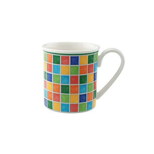 Villeroy und Boch - Twist Alea Limone Kaffeebecher, farbenfrohe Kaffeetasse aus Premium Porzellan mit bunten Ornamenten, gelb/weiß 300 ml