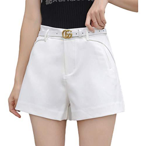 Pantalones Cortos Rectos para Mujer Moda Cintura Alta Color sólido Casual Trabajo de Oficina Clásico Regular Pantalones Cortos Finos Verano S