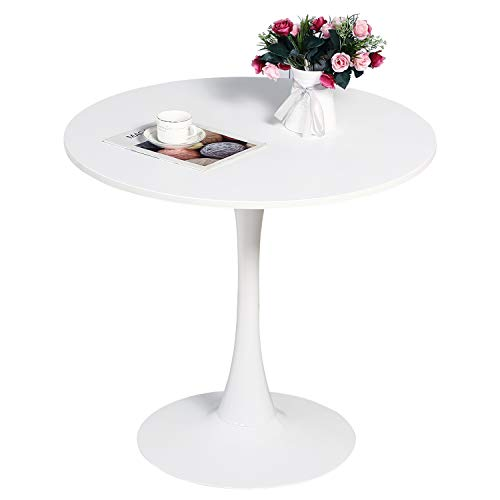 """STYLIFING Dining Table 32"""" Mid-Century Modern Round Dining Table Coffee Table with Round Top and Pedestal Base in White"""
