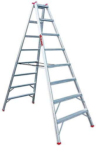 Faraone - Escalera de Aluminio - Banco Agrícola T 810-320 x 110 x 13 cm - Banco Agrícola de Doble Subida - 10+10 peldaños - Peldaños Antideslizantes - Ideal para Terrenos Irregulares