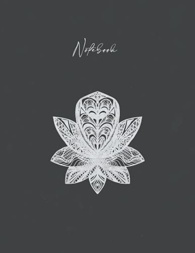 lotus boho Notebook: Artistic Cute lotus design on a dark background. Journal With Ruled and Numbered Page Interior - Large (8.5'x11') - 120 pages