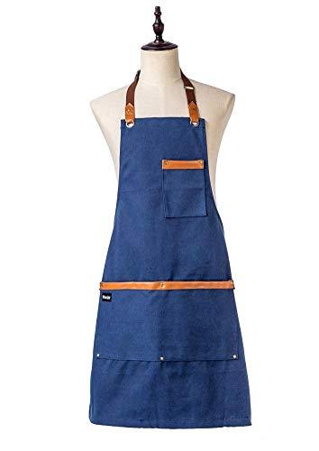 Küchenschürze Kochen Leinwand Denim Schürze Damen Herren Restaurant Arbeitsschürze Arbeitskleidung Schürze Schürze Erwachsene Schürze