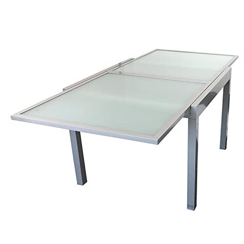 Wohaga Gartentisch 'Madrid', 180/90x90cm, ausziehbar, Aluminium, Silbergrau, Tischglasplatte satiniert