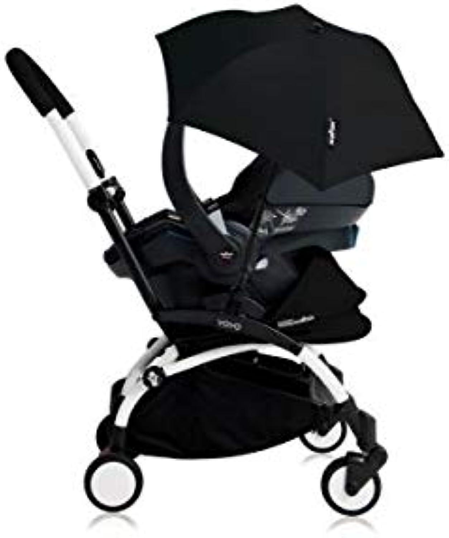 Babyzen Poussette YOYO+ Tout-en-un (Cadre Weiß) Pack Naissance schwarz siège-Auto Izigo Modular schwarz et ombrel