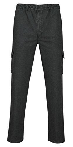T-MODE Herren Jeans Stretch Schlupfhose Schlupfjeans Gummizughosen Sommer Kollektion-Schwarz-XL
