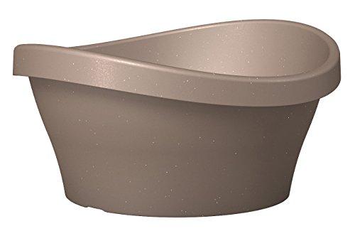 Scheurich Wave Garden Bowl, runde Pflanzschale aus Kunststoff, Living Taupe, 40 cm Durchmesser, 19 cm hoch, 10 l Vol.