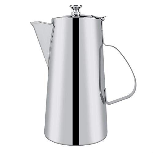 Tetera de acero inoxidable, tetera de plata espesada 2L Tetera elegante Tetera de agua de café para el restaurante del hogar Cafetería Bar del hotel(2L short nozzle-Astilla)