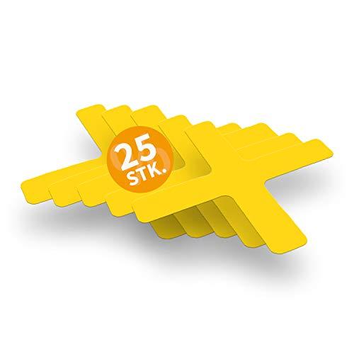 Betriebsausstattung24 Stellplatzmarkierung zur Lagerplatzkennzeichnug | TYP X-Stück | PVC selbstklebend | sofort befahrbar | 25 Stück (VE) (5,0/30,0 x 30,0 cm, Gelb)
