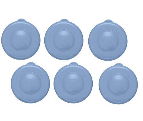 AquaNation Dew Cap Replacement - Pack of 6 Fit 55mm Snap On Crown Top 3 & 5 Gallon Water Bottles Jug Snug & Tight Leak Proof BPA-Free Jug Lids (Quantity of 6) (Blue)