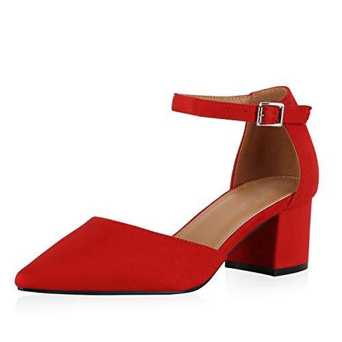 SCARPE VITA Damen Spitze Pumps Elegante Mid Heels Blockabsatz Schuhe Riemchenpumps Absatzschuhe Wildleder-Optik Party 190399 Rot Rot 39