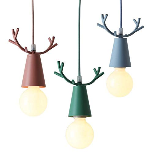 MBESSR Lámparas macarons Cuerno pendiente de la luz nórdica color macarons asta de la historieta de la lámpara de noche Ventana Restaurante Bar Porche decoración LED (Color : Green)