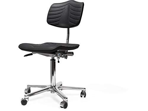 Modulor höhenverstellbarer Arbeitsstuhl, Drehstuhl aus PU, Schreibtischstuhl mit Gasfeder und Fußkreuz aus Alu, schwarz