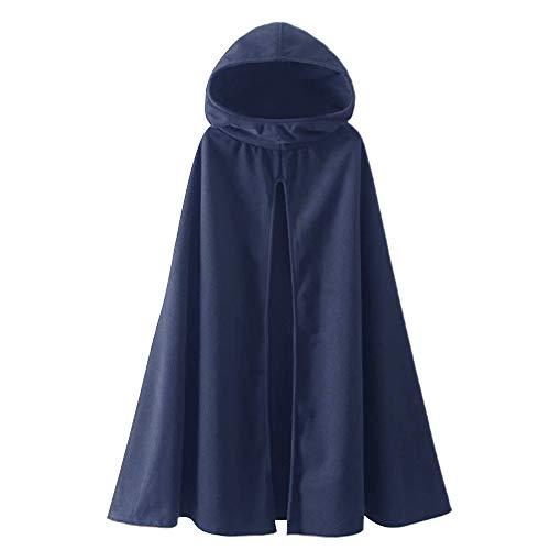 Fantasy Closet Women's Hooded Cape Mid-Length Split Front Cloak, Lightweight-navy, 3X-Large
