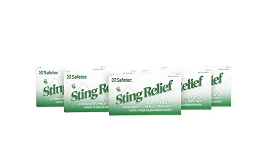 Safetec Sting Relief Wipes 10ct Box (5 Pack of 10ct Wipes - 50 Sting Wipes) for Insect Bites & Stings
