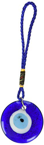 Luos Cultural Goods Single Sided Blue Glass Evil Eye Talisman- Good Luck Charm, Home, Office, Car Decoration, Blessing Ornament, Reflects Negative Energy, 1.5 inches