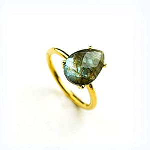 Labradorite Teardrop Shaped Gemstone Ring, Vermeil Gold or Sterling Silver
