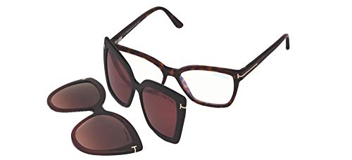 Tom Ford Brillen Gafas de Vista FT 5641-B .C BLUE BLOCK RED HAVANA BLACK CLIP ON BROWN CLIP ON 53/15/140 Unisex