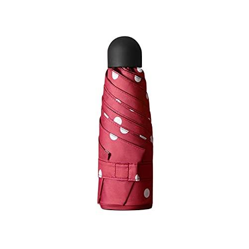 Paraguas Plegable Moda Impresión De Puntos Paraguas Ligero Plano Parasol Sombrilla Plegable Mini Paraguas De Lluvia Rojo