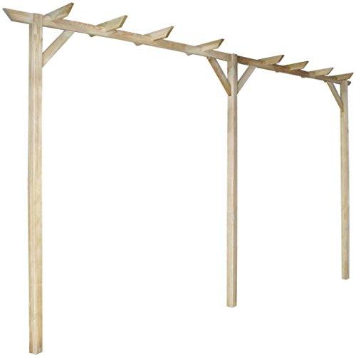 Anself - Pérgola de madera de pino para jardín terraza patio, 400 x 40 x 205 cm, anti-putrefacción