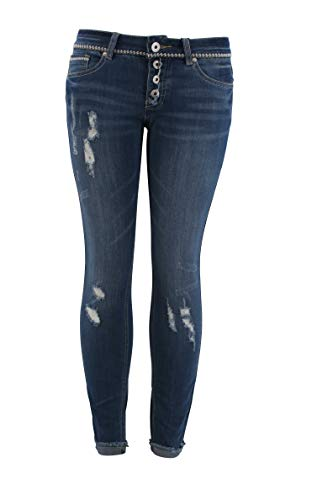 by Eight2Nine Damen Skinny Jeans Used Destroyed Look mit Rissen, Denim, M