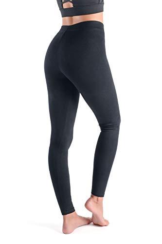 looksy Miego Damen-Leggings, klassisch, schwarz, Baumwolle, blickdicht, atmungsaktiv, in volle Länge, Gr. S-M, Basic