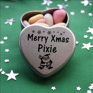 Merry Xmas Pixie Heart Shaped Mini Tin Gift filled with mini coloured chocolates perfect card alternative for Pixie Fun Festive Santa Design