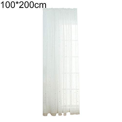 litty089 Exquisite Transparente Tüllgardine 1 Stück Voile Fenstervorhang mit glänzenden Sternen Muster Deko für Wohnzimmer, 1, weiß, 100 * 200cm