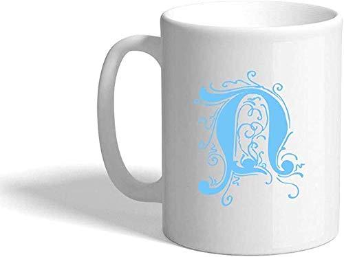 N\A Taza de ceramica Blanca con Monograma Inicial de la Letra Toscana