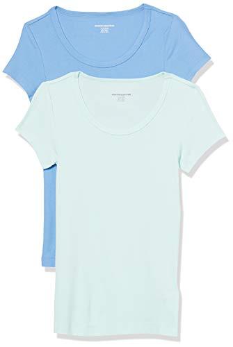 Amazon Essentials 2-Pack Slim-fit Cap-Sleeve Scoopneck fashion-t-shirts, Blau (Hellaqua/Französisch Blau), X-Small
