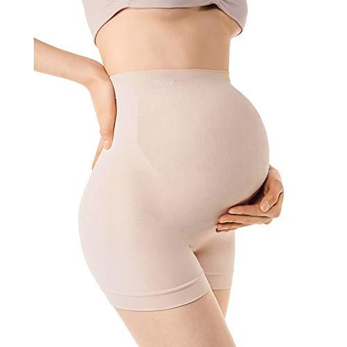 +MD Umstandskleidung Unterwäsche für Schwangerschaft Shapewear Höschen mit Bauch-Unterstützung Mitte Oberschenkel Pettipant NudeM