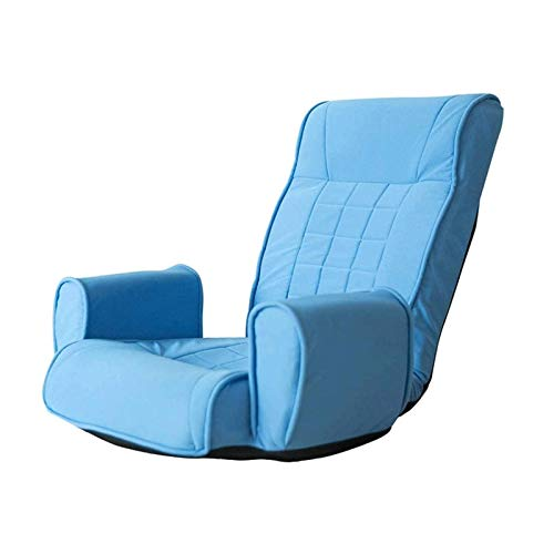 WSDSX Chair Recliner Armchair Sunloungers Lazy Sofa Single Floor Bed Chair Adjustable Angle Folding Living Room Balcony Sofa Chair (Color : Lake Blue)