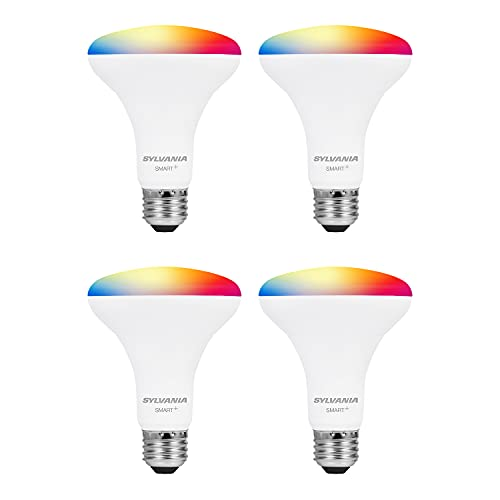 SYLVANIA Smart+ Wi-Fi Full Color Dimmable BR30 LED Light Bulb, CRI 90+, 65W Equivalent, Compatible with Alexa and Google Assistant, 4 Pack