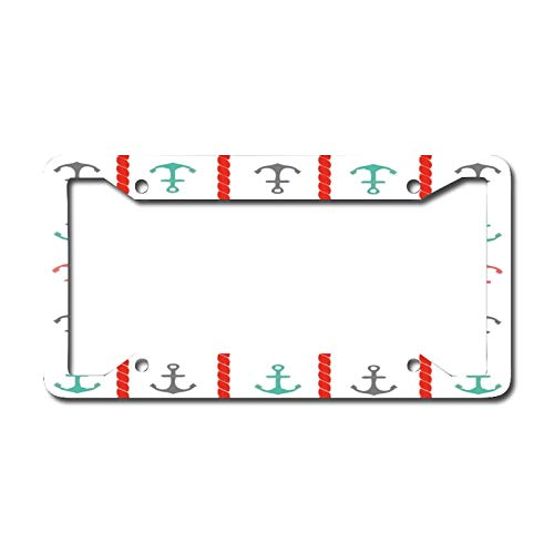 Custom License Plate Frame for Front Car, Pink Ship's Anchor Personalized License Plates, Vanity Metal Novelty License Plate Tag Sign 6.3 X 12.2 Inch
