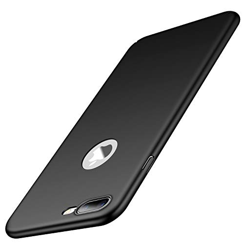 heevey Hülle Kompatibel mit Apple iPhone 7 Plus & 8 Plus | Ultra Dünne Hard-case Schutzhülle FeinMatt Anti-Fingerabdruck Schwarz