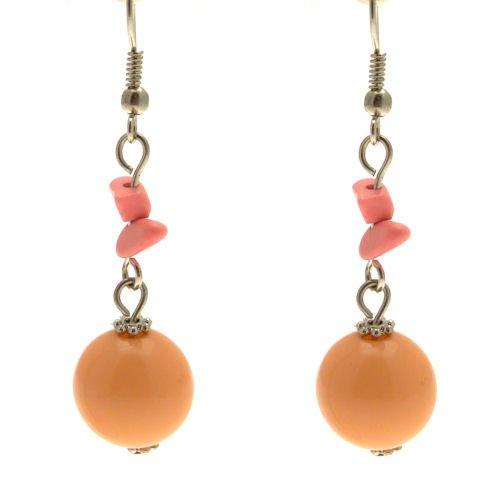 Acosta - esmalte brillante de cuentas de Coral - Fashion rosetón redondo Juego de pendientes de joyas