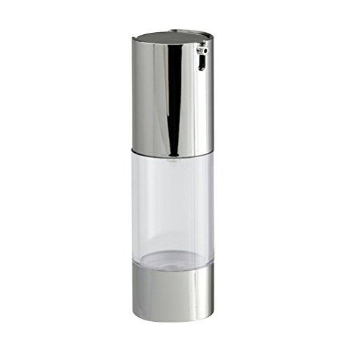 Lurrose Bouteille de pompe vide rechargeable transparente sans air (argent)