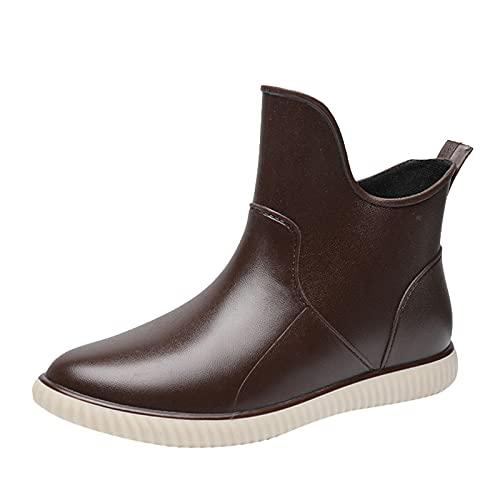 YWLINK Botas De Lluvia Mujer Hunter Zapatos CuñA Botas De Lluvia Hebilla Zapatos De Goma Moda Casual Antideslizante Botas De Nieve Pvc TamañO Grande Botas Cortas Botas De Lluvia (Marrón, 39)