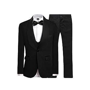 JYDress Mens Jacquard 3 Piece Suit Slim Fit Tuxedo Blazer Jacket Tux Vest & Trousers