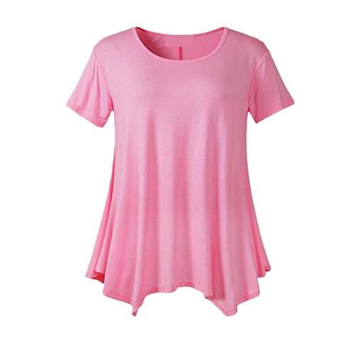 X8jdieu3summer Plus Size Damen Mittellanges kurzärmeliges T-Shirt mit losem Rundhalsausschnitt Einfarbiges Unterhemd