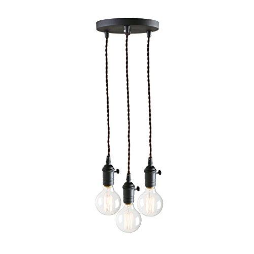 Lámpara colgante para techo de 3 bombillas con diseño retro, vintage e industrial de Pathson, Schwarz Farbe, DEL041 40.0W