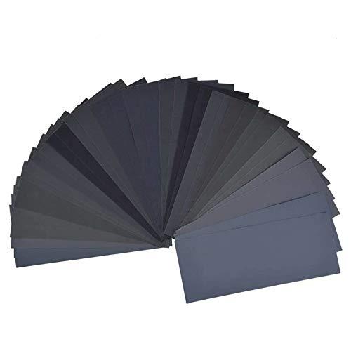 Schleifpapier Set, Körnung von 120 bis 5000, Wasserfest Nass & Trocken für automatisiertes Schleifen, Holz, Stein, Lack, Metall, Glas, 9 x 3,6 Zoll.(30 Stück)